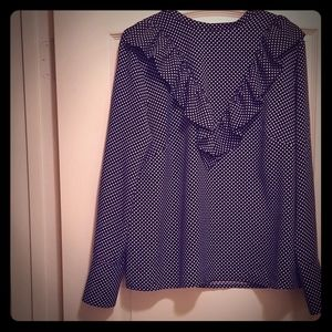 H & M Navy Blue with White Polka Dot Blouse